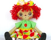 Primitive Raggedy Ann Doll-Red and Yellow - cottoncandydolls