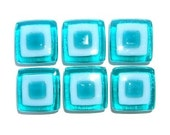 Aqua and White Fused Glass Knob or Decorative Tile