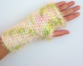 Soft Fingerless Gloves - adult small - pink, green, yellow, white