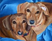 11x14 Hand Painted Commissioned Pet Portrait Painting TWO Pets any Animals Dog Cat or Horse