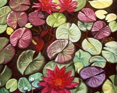 Red Lotus Flower Water Lilies Giclee on canvas