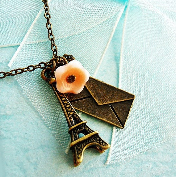 French Petite Eiffel Tower Charm Necklace by MaruMaru on Etsy from etsy.com