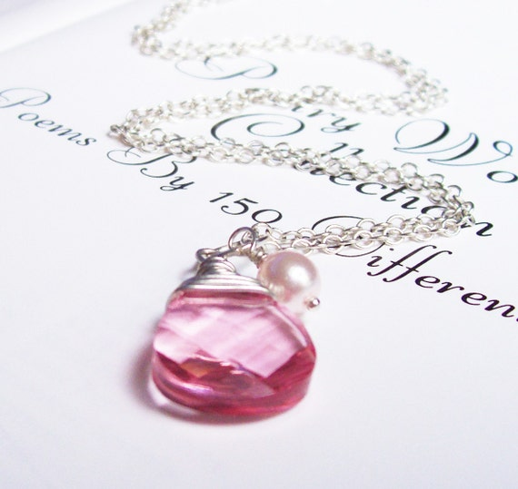 SALE Annabelle Necklace, Pink Swarovski Crystal, Glass Pearl, Wedding Jewelry by dspdavey on Etsy