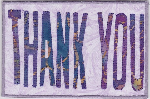 Thank You Fabric Postcard