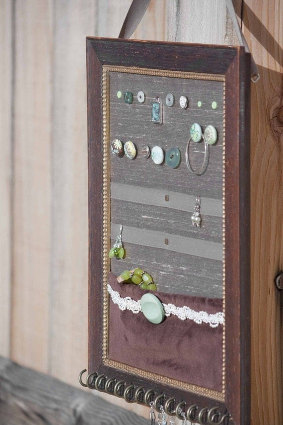 brown velvet jewelry board (upcycled)