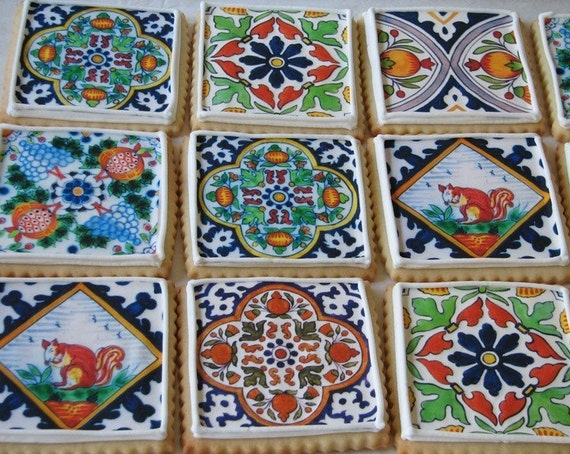Delft Tile Cookie Gift Box - One Dozen (Vanilla)