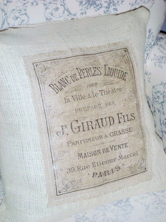 Maison de Vente Shabby Chic French Text Burlap Pillow Cover