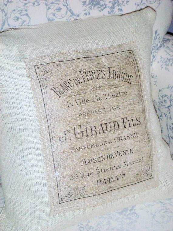 Maison de Vente Shabby Chic French Text Burlap Pillow Cover