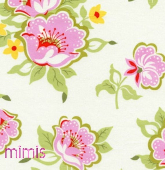 Nicey Jane Fabric / Heather Bailey / Church Flowers in Pink / 1 Yard Quilt Apparel Fabric