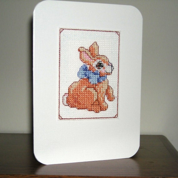 Blue Bow Bunny - Bunny Children Boy Easter Handmade Cross-stitched card