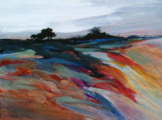 "Contemporary acrylic landscape painting, Modern, Original, 9 x 12  ""Windswept Ridge"" Framed"