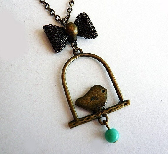 Adorable Sparrow and Ribbon Necklace by MaruMaru on Etsy from etsy.com