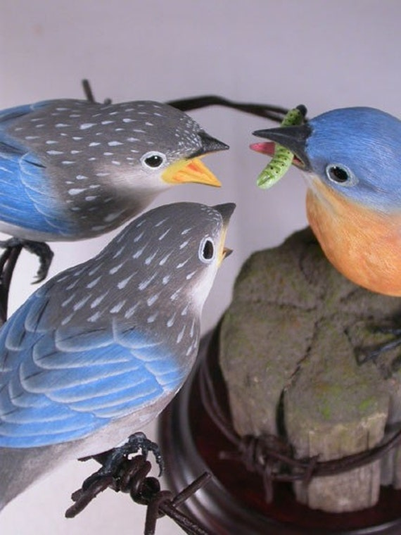 Eastern Bluebird Female with 2 Babies Hand Carved Wooden Bird