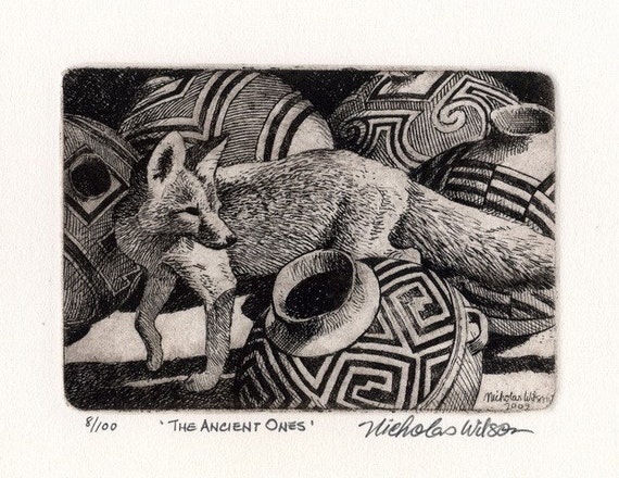 The Ancient Ones Original Etching by Nicholas Wilson