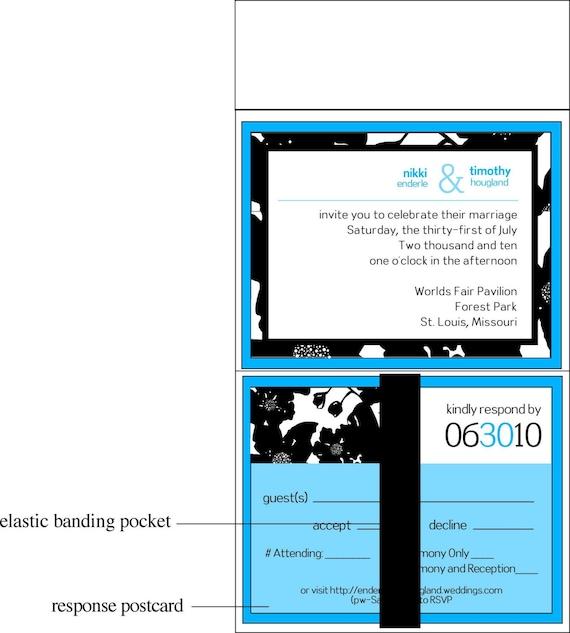 Blue Black and White Pocketfold Wedding Invitation