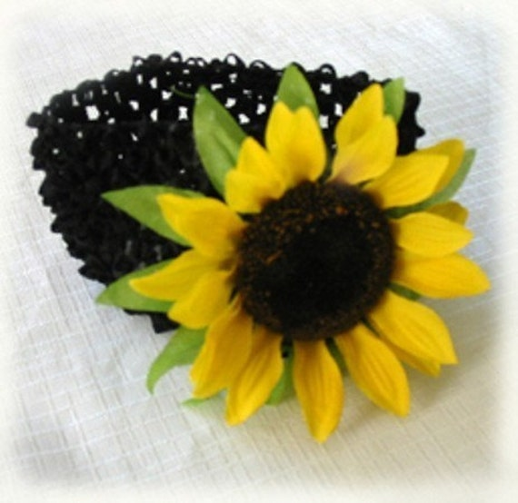 1 Black Headband with Yellow SunFlower Hair Clip
