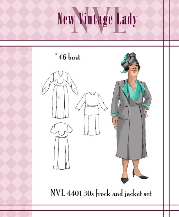 NVL 1930s The Deco Suit 46 bust PLUS SIZE