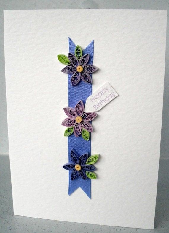 Гофрированный именную карту рождения с ромашками рюш в сиреневом