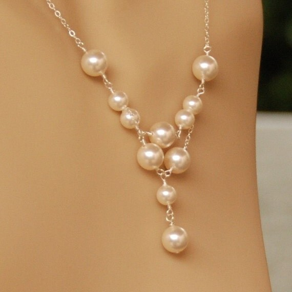 Pearl Bridal Set -  Wedding Necklace & Earring Set - Swarovski Pearls in Sterling Silver - Pearl Tier Necklace Set