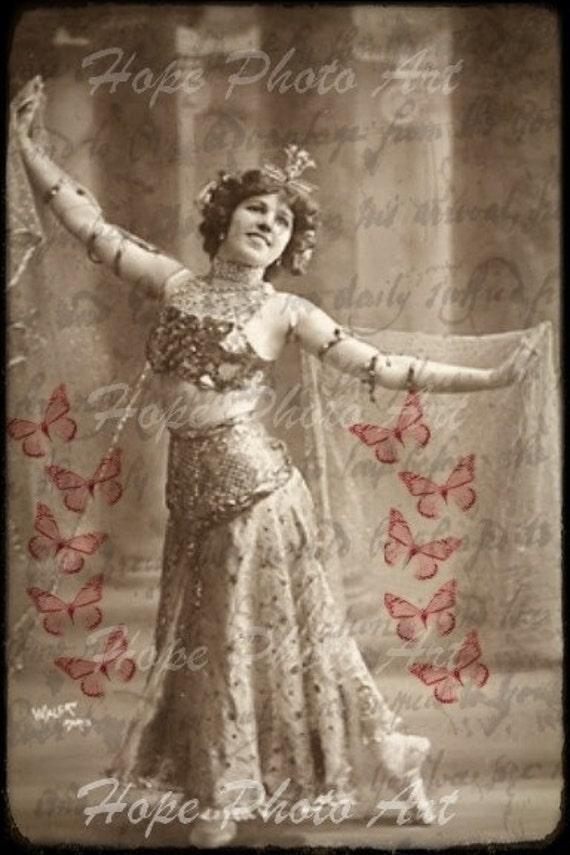 Vintage Vaudeville Bellydancer - 4x6 Vintage Postcard TTV - backgrounds, digital download, ATC, ACEO tags, Altered Art, greeting cards, scrapbook, crafting supplies - Ready to print and download in JPG format 300dpi