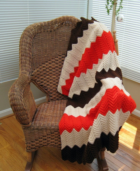 Vintage Hand Knitted Brown, Cream, and Orange Blanket