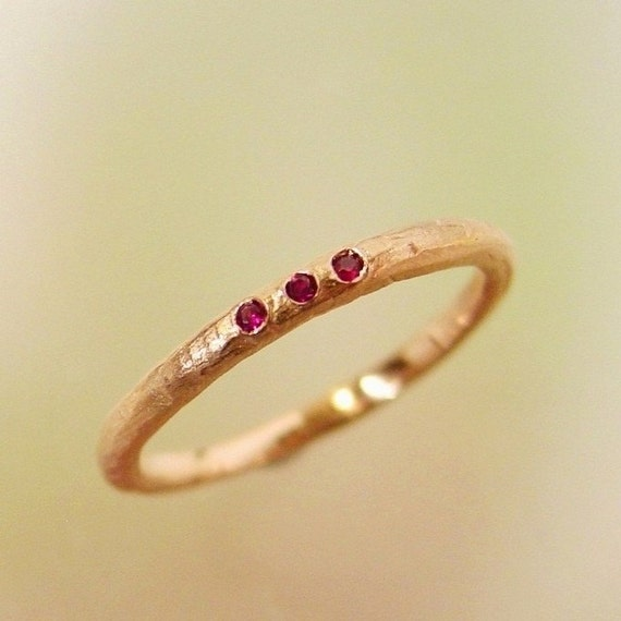 Rose Gold and Ruby Wedding Band stacking ring, Made to order