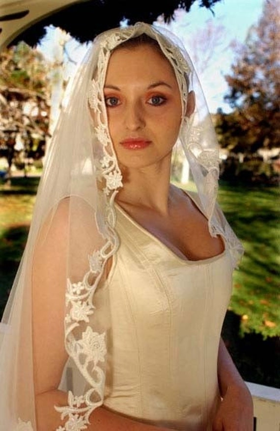Victorian Edwardian Bridal Lace Wedding Veil From SatinShadowDesigns