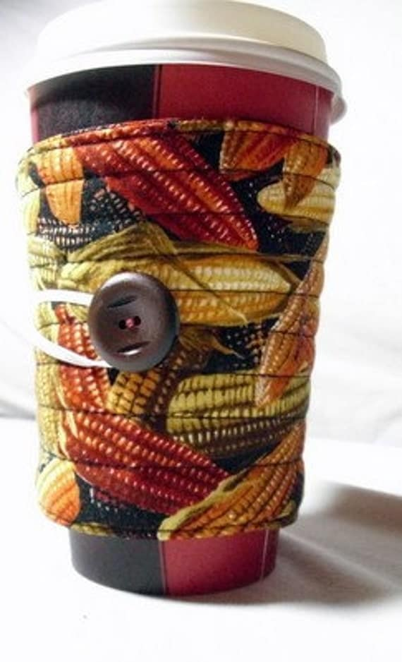 cup cozy fabric coffee cup sleeve  coffee cup cozy:  Harvest corn