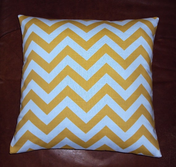 Bright Yellow Chevron Zig Zag Fabric Pillow Cover - FREE SHIPPING