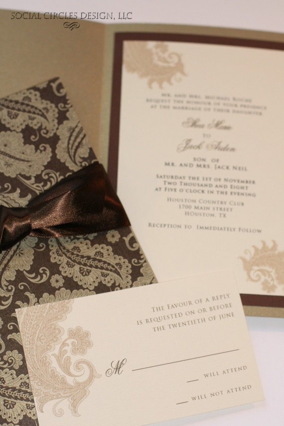 Brown and Gold Wedding Invitations
