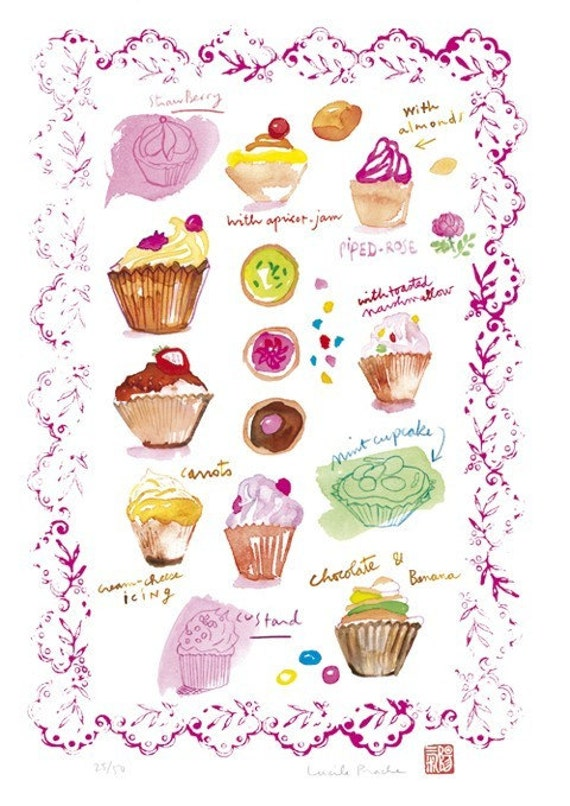 Cupcakes illustration No 2 - 8 X 10 Food art print - Kitchen wall decor