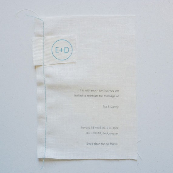 Laundromat screenprinted linen invitation