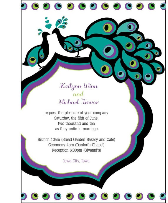 Fun NonTraditional Purple Blue Green Teal Peacock Wedding Invitation and