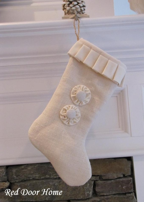 Winter White Christmas Burlap Stocking with Two Buttons
