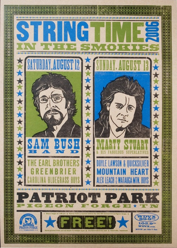 STRING TIME in the SMOKIES 2006 Hand Printed Letterpress Print Sam Bush Marty Stewart