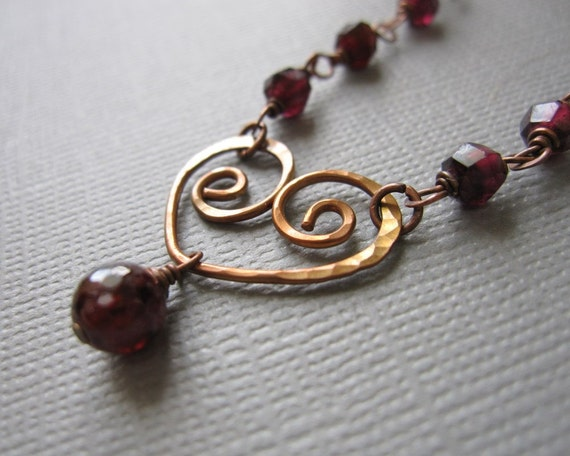 Tough Love Hammered Copper Heart Red Garnet Necklace