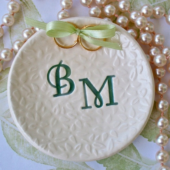 Custom Ring Bearer  Monogram Bowl / Wedding / Keepsake / Textured / Personalized