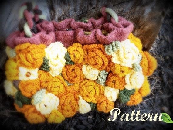 Carpet Roses Purse PDF Pattern  Knit Crochet Felted Art Bag
