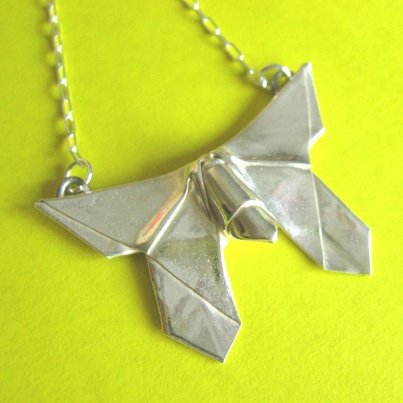 Silver Origami Butterfly Pendant Necklace