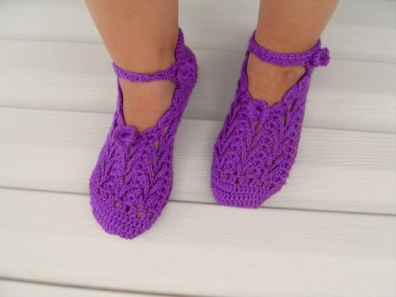 دمپایی صفحه اصلی Crocheted -- عمیق بنفش بنفش سنتی ترکیه طراحی و TeamT