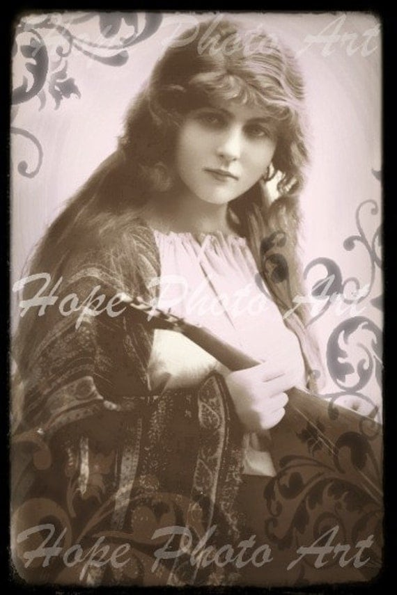 Vintage Gypsy 4x6 Postcard - backgrounds greeting cards atc aceo note cards paper supplies - U print 300dpi jpg