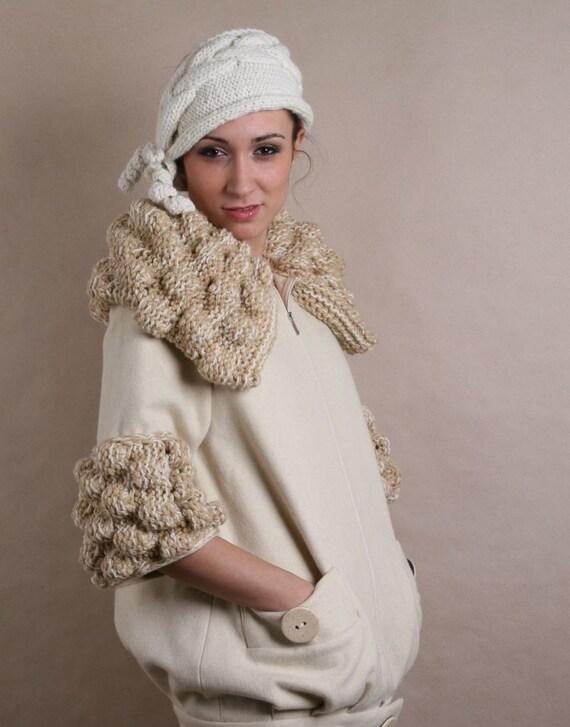 30 ٪ خاموش OOAK زمستان کت با یقه crocheted