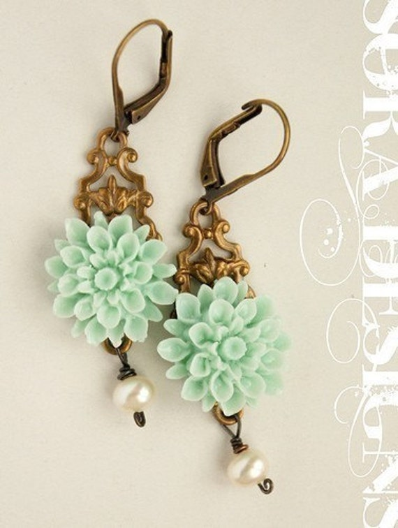 Seafoam Flower Earrings - aqua, mint dahlia flower and pearls bronze chocolate filigree earrings
