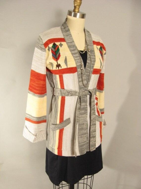 Vintage 70s Ethnic Southwestern Bell Sleeve Sweater Jacket