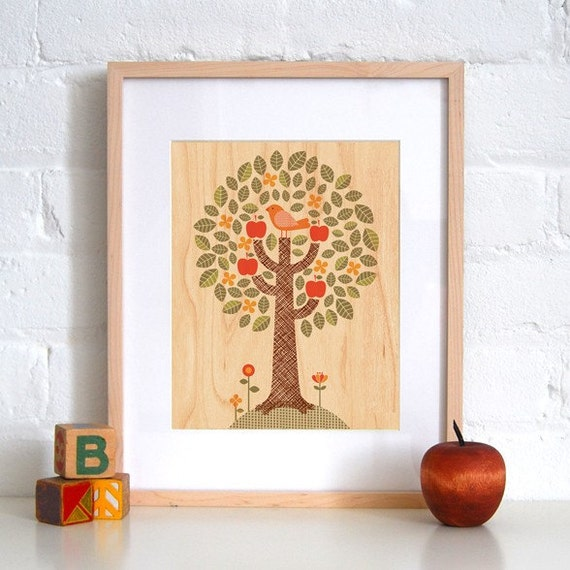 FRAMED 8x10 Tree Print on Wood