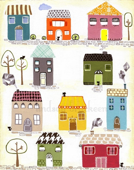 Houses Home Village Print