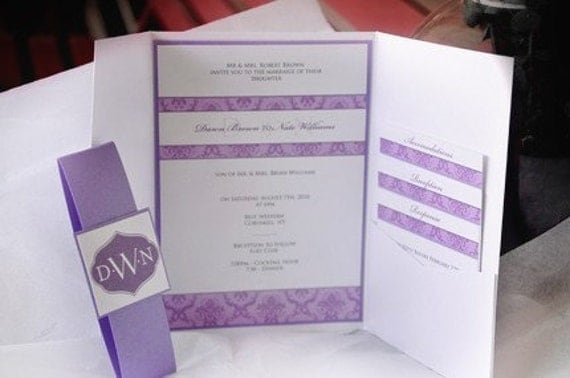 tri fold purple damask wedding invitation