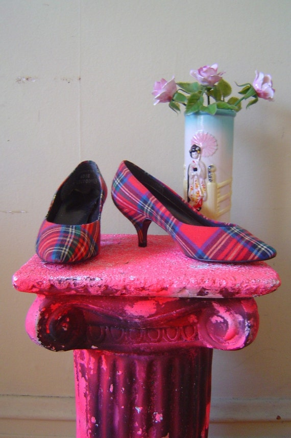 80s plaid kitten heels Vintage 1980s tartan pumps