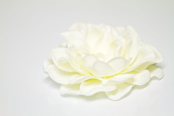 Creamy White Gardenia with a cabochon center Hand Embellished Flower Hair Clip
