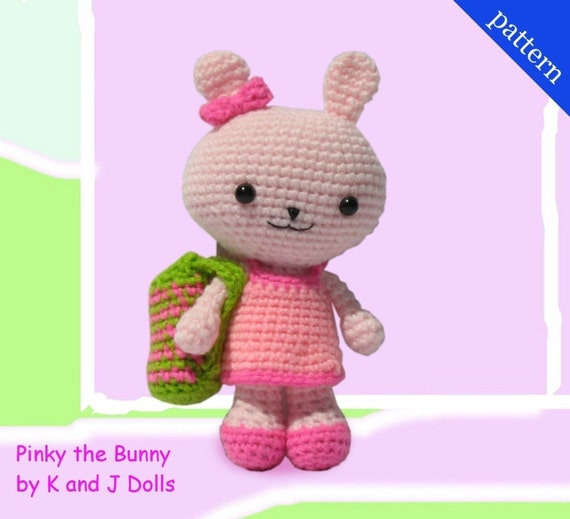 Amigurumi Pattern Pinky the Bunny with 2 Outfits and bag - PDF